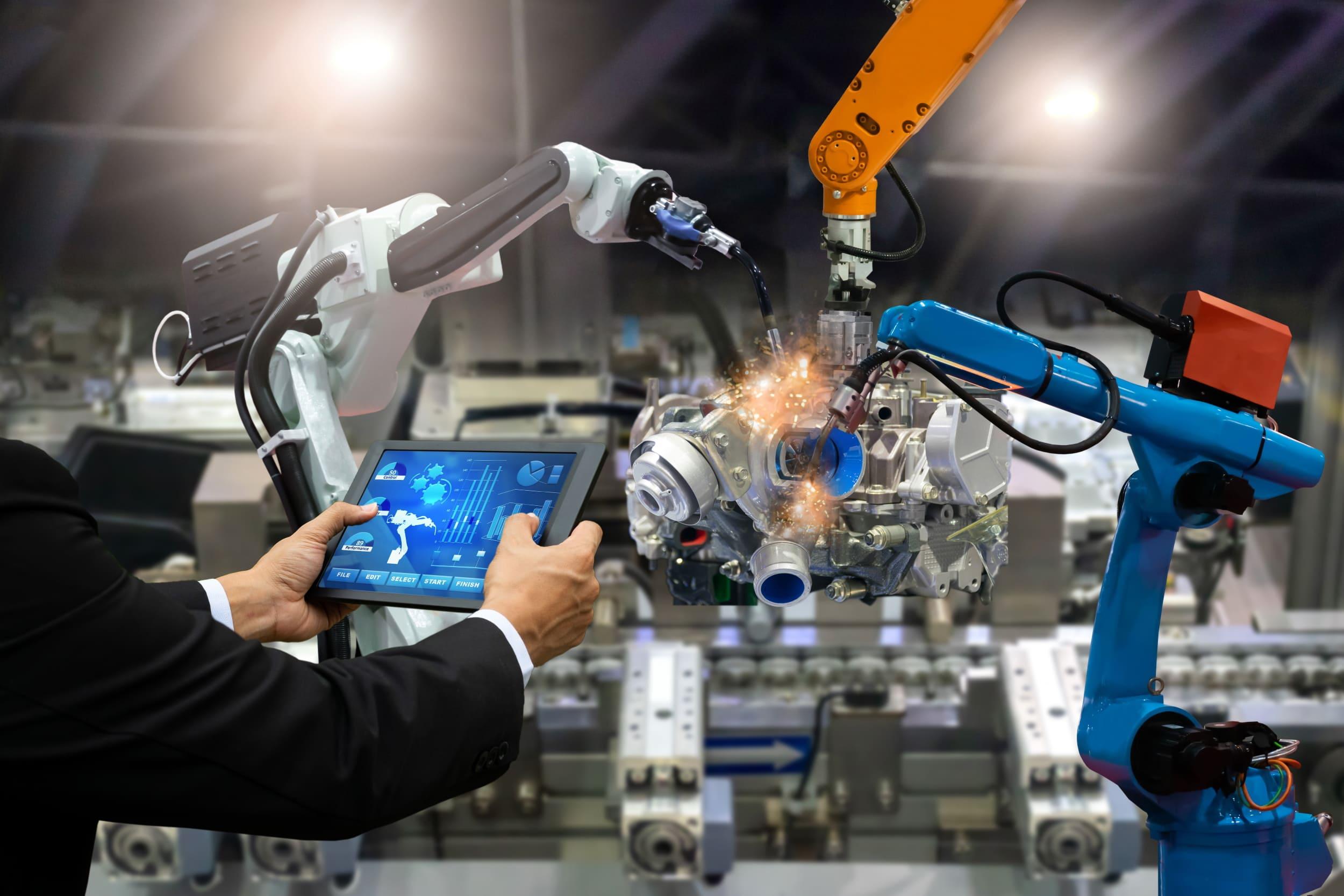 Robots industriales controlados desde una tablet